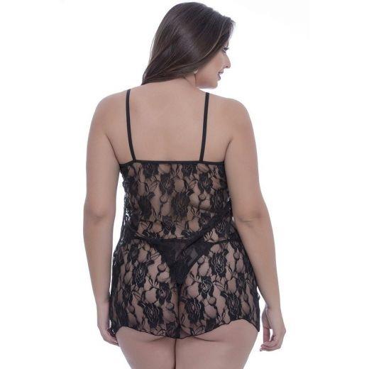 Camisola Plus Size toda Rendada Preta (Macler)
