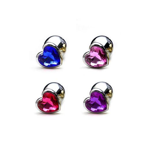 Plug Anal em Alumínio, Base em Formato de Coração com Pedra Colorida (Miss Collection)